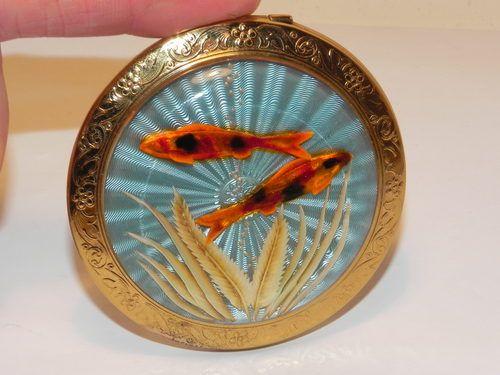 Vintage Melissa Guilloche Goldfish Powder Compact