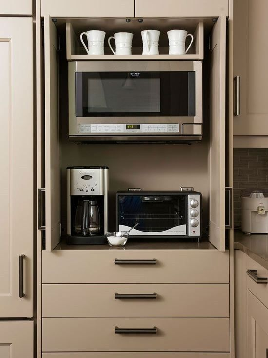 *appliance cabinet.  enclosed microwave and toaster oven. *wall oven underneath instead of drawers would be awesome!!!