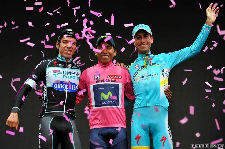 Your 2014 Giro d'Italia overall podium, Rigoberto Uran (Omega Pharma - Quick Step) + 2:58, Nairo Quintana (Movistar) 88:14:32, Fabio Aru (Astana) + 4:04
