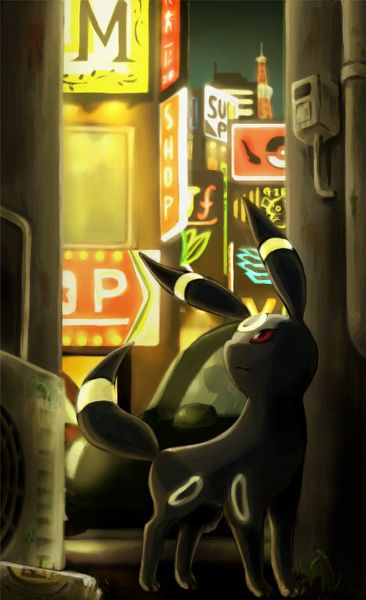 I love dark cities, and now with Umbreon, this is PERFECT.