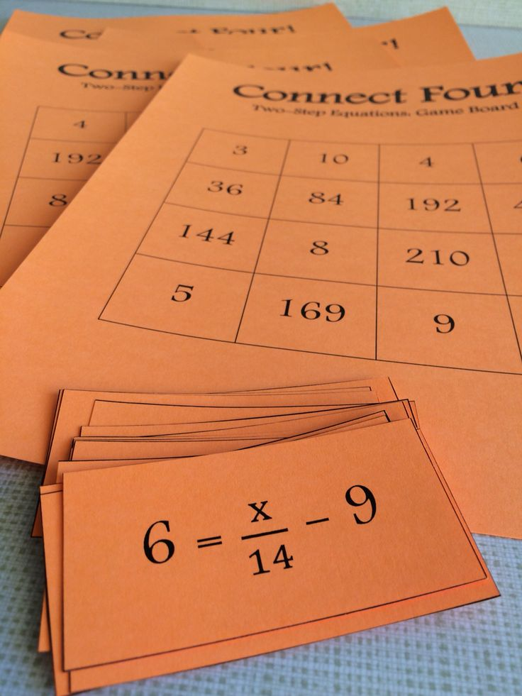Connect Four: Two-Step Equations game for 6th-8th grade math! This math game helps students practice solving two step equations. Students must solve equations and connect four spaces in a row on their game board. Great for small groups and math centers!