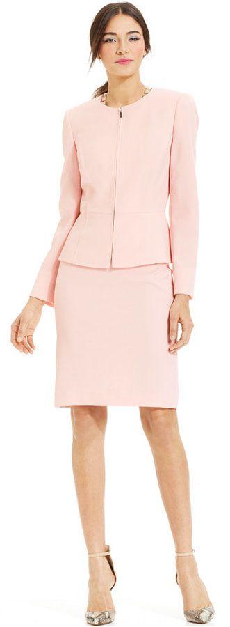 Tahari ASL Peplum Zippered-Front Skirt Suit