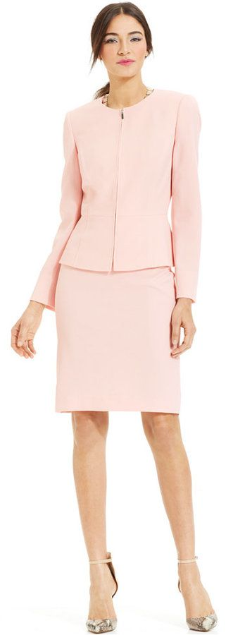 Tahari ASL Peplum Zippered-Front Skirt Suit Web ID: 1964381