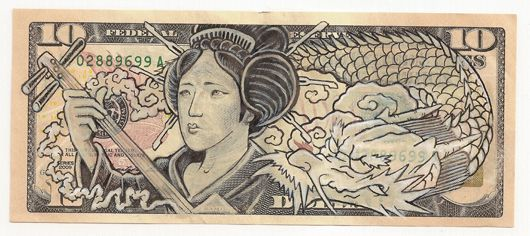 James Charles - Geisha & Dragon - Ink Drawing on United States Bank Note 17.5×14″ Framed