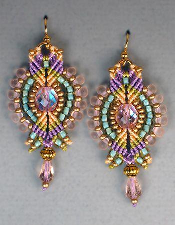 micro macrame jewelry patterns   Kit: Micro-Macramé Lumina Earrings - Pink Orchid