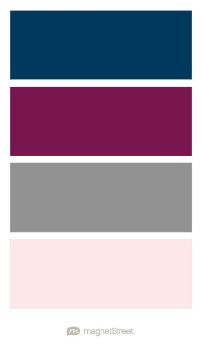 Navy, Sangria, Classic Gray, and Cream Rose Wedding Color Palette - custom color palette created at MagnetStreet.com