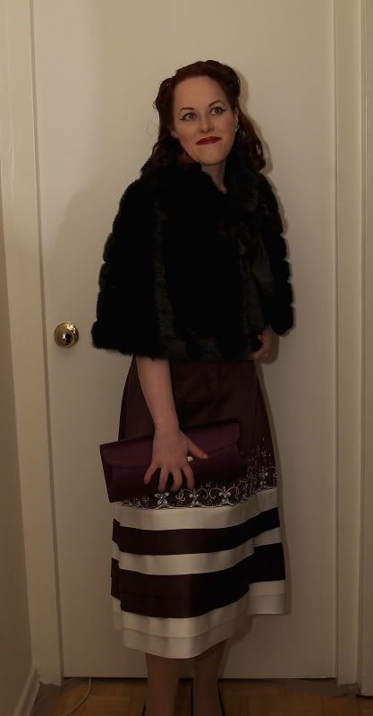 An evening at the theater, complete with a stylish, cozy faux fur caplet. #vintage #fashion #whatIwore #hair #hairstyle #makeup #dress #purple #clutch #fur #caplet: Whatiwor Hair, Long Hairstyles, Hair Hairstyles, Hairstyles Makeup, Photo