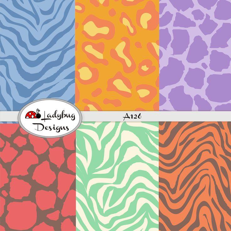 Scrapbooking paper Ref. A126 Multicolor Animal Print. #PapeleriaScrapbooking #TarjeteriaScrapbooking