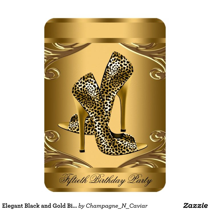 Elegant Black and Gold Birthday Party Card Beautiful gold swirls black and gold leopard 50th birthday party invitation and RSVP. This elegant black and gold leopard birthday party invitation is easily customized for your event by adding your event details, font style, font size & color, and wording.