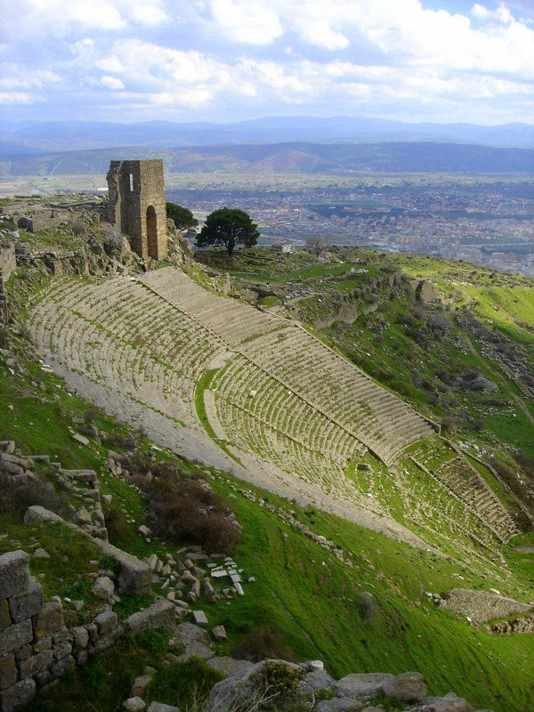 Pergamon is 16 miles from the Aegean perched high on a hill with a nice view of the modern Turkish city of Bergama.