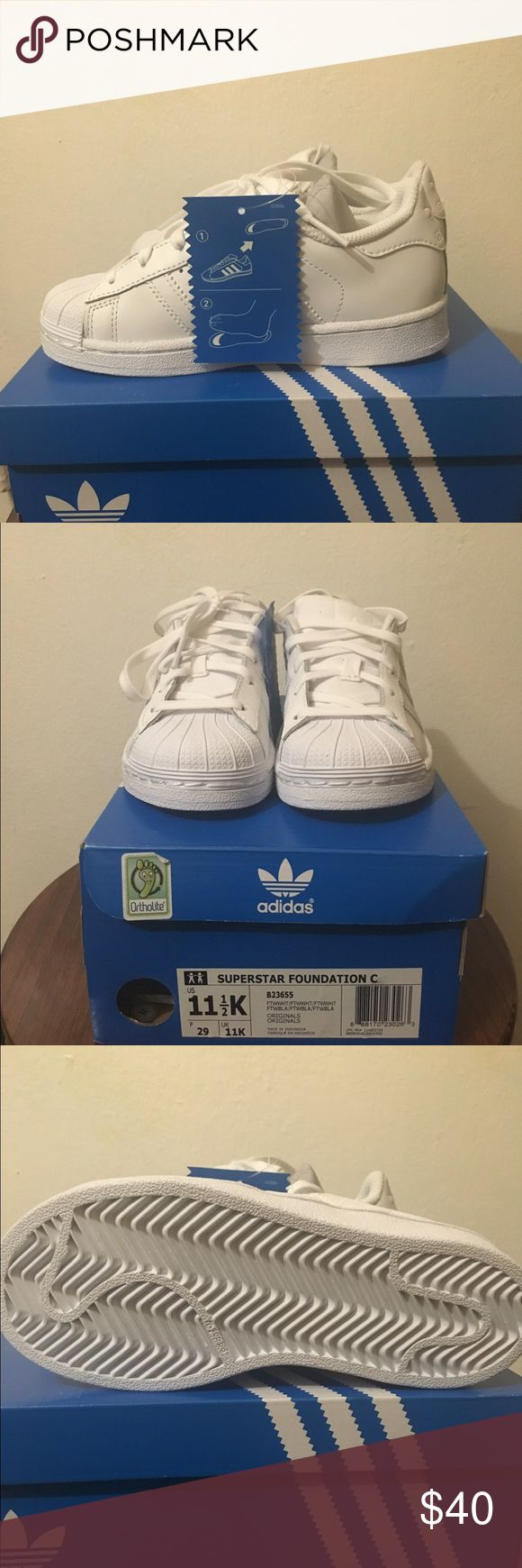 Adidas SUPERSTAR FOUNDATION SHOES The shoes are New with original tags. Boys size 11 1/2 Adidas Shoes Sneakers