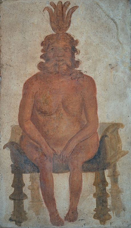 Fresco from the Temple of Isis in Pompeii depicting the Egyptian god Bes, protector of women and children, North wall of Sacrarium, Naples National Archaeological Museum