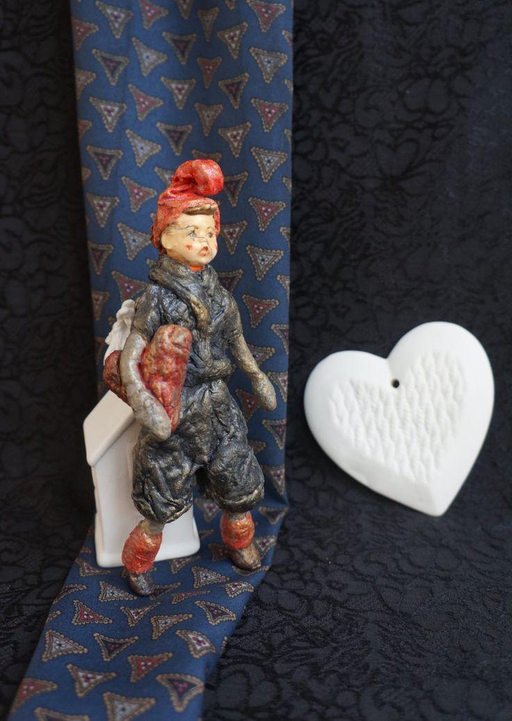 Spun cotton ornament - jester - heart - Valentine's Day  - Cotton Batting Ornament - Spun Cotton Vintage Style - Hummel - by RussianshawlRustic on Etsy