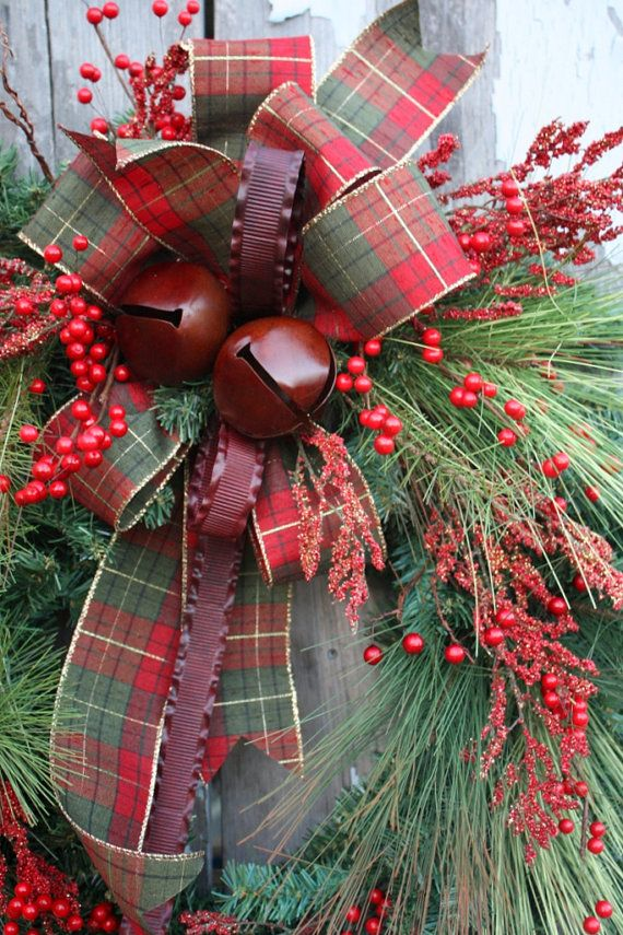 Christmas Wreath Mixed Pine Red Berries by sweetsomethingdesign