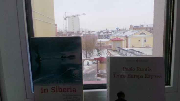 In Siberia (Colin Thubron)  Trans Europa Express (Paolo Rumiz)  on my window in Omsk, Siberia