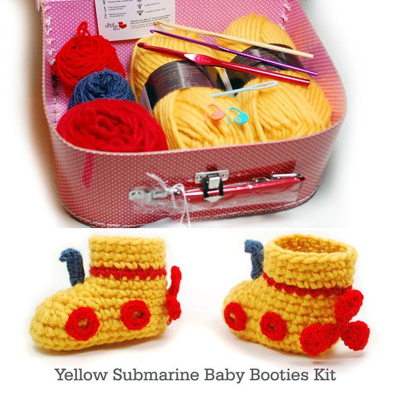 Crochet Kit: Yellow Submarine Wool Baby Boots. €25,00, via Etsy.