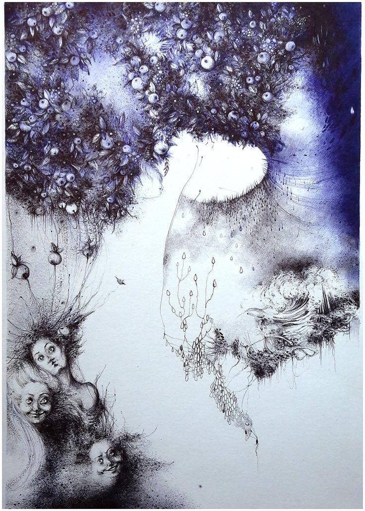 Zrodená z morskej peny - ilustrácia perokresba; 25x36  #more #zrodenie #zeny #ilustracia #fantazia #perokresba #volnycas #hobby #art #graphic #illustration #inkillustrated #sea #women #apple