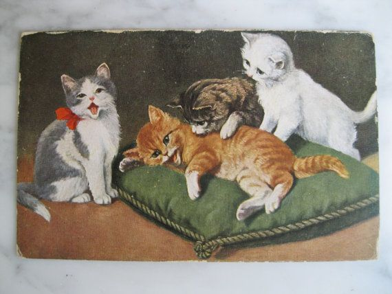 Antique Litho Postcard. From my album Cats and by grandma62