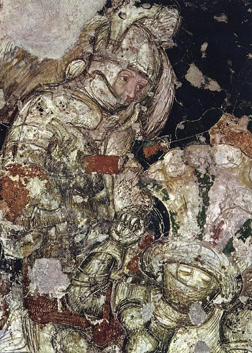 PISANELLO AL PALAZZO DUCALE DI MANTOVA Arthurian chivalric cycle: group of fighting warriors, detail of fresco.