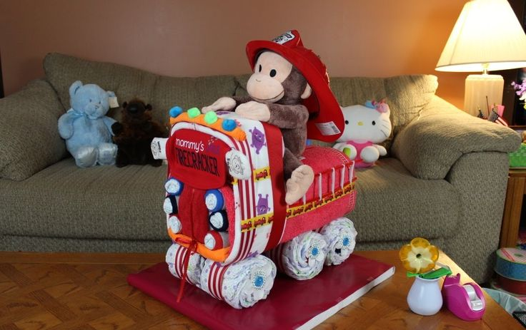 Fire Truck Diaper Cake (How To Make) (+playlist)