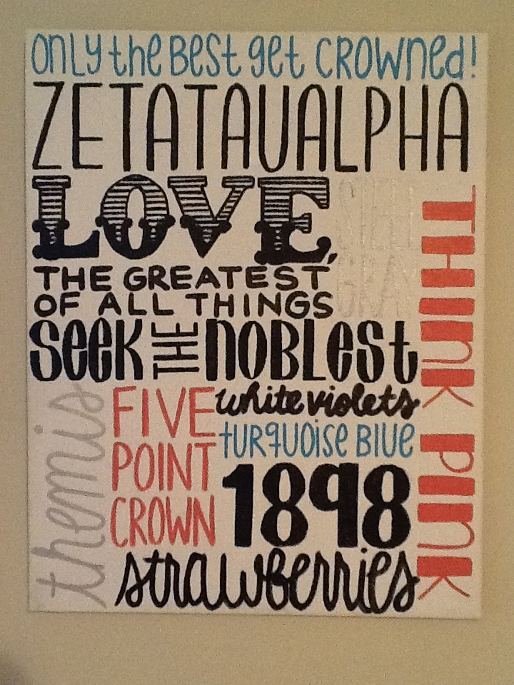 Zeta Tau Alpha create in power point and print on paper then mod podge to canvas!