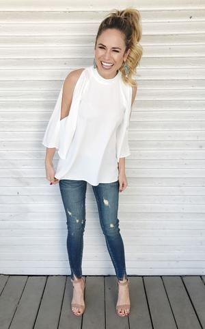 Celeste-Off White cold shoulder dressy top
