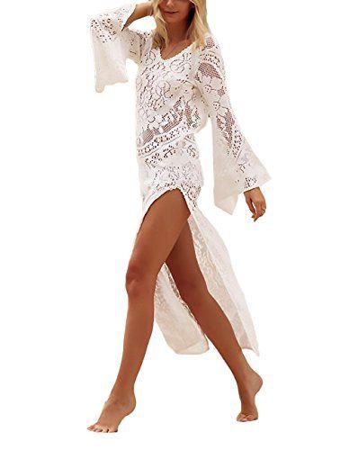 27ac1d8c0e68 Vestiti Donna Eleganti Lunghi Moda Mare Pizzo Abiti Da Giorno Copricostume  Mare Manica Lunga Maniche Tromba