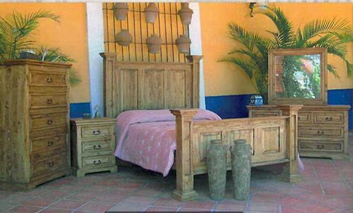 4 PC Rustic Oasis Natural Wax Queen Size Bedroom Set