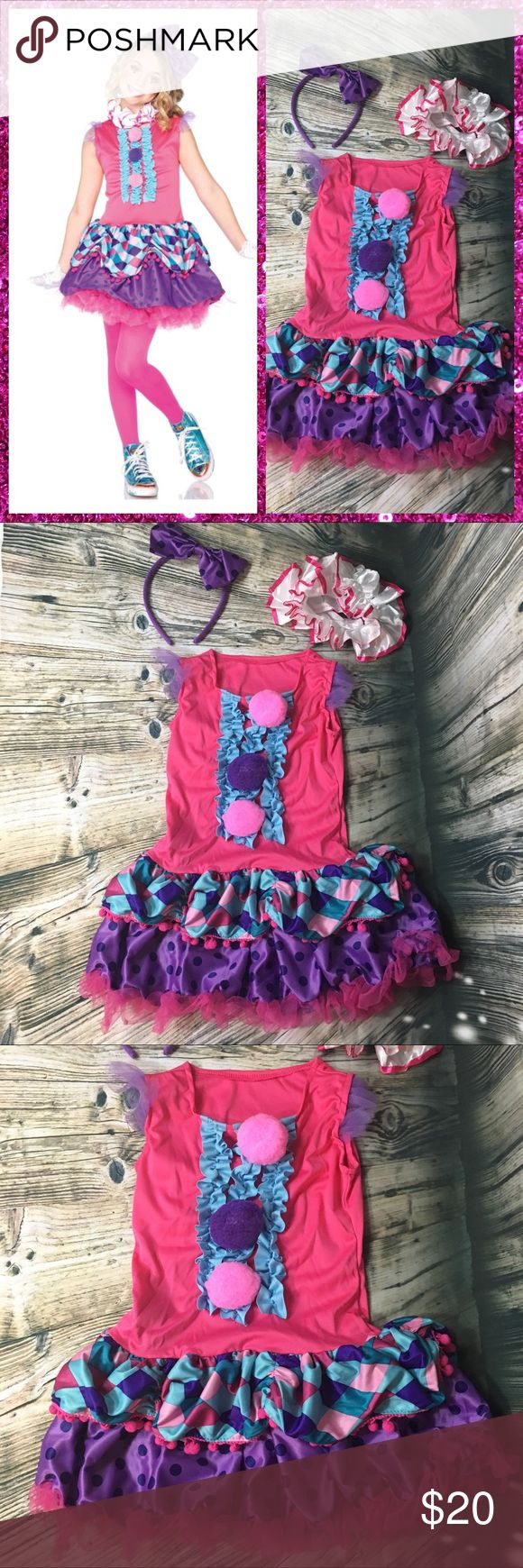 New!  Leg Avenue Clown Cutie Costume Girl's 3T/4T Cute!  New!  Leg Avenue Clown Cutie Costume Girl's 3T/4T. Includes: Hot pink Tutu Shift Dress with Pom-Pom and Ruffles, ruffled white collar & bow headband. Please see measurements in pictures. Leg Avenue Costumes Halloween