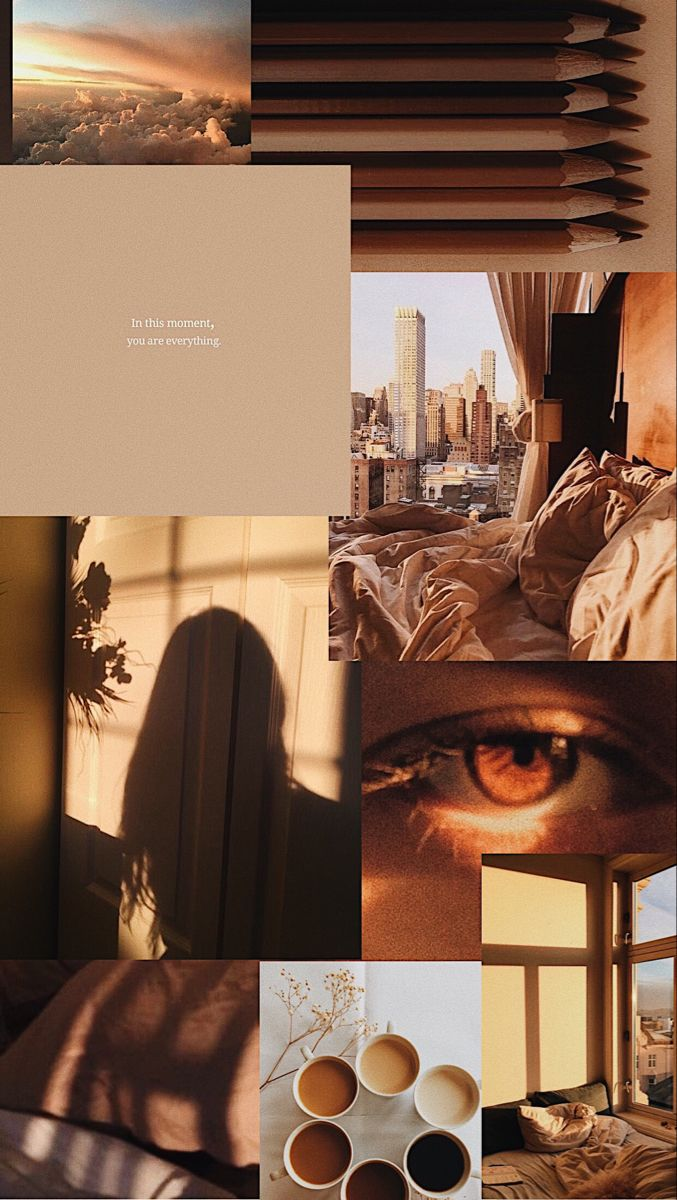 brown aesthetic collage aesthetic pastel wallpaper