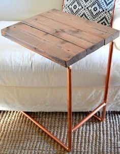 8 Must Try DIY Side Tables: DIY Copper Pipe Laptop Side Table | Make the Most of a small space | Easy DIY and budget friendly