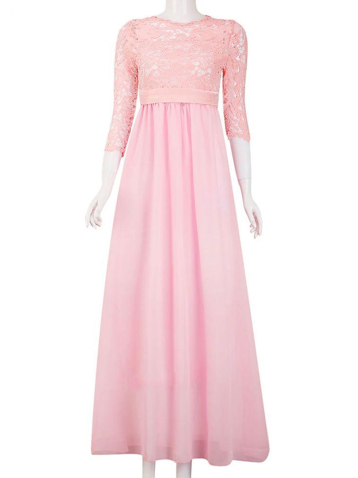 Abendkleider für Frauen Lace Long Maxi Formale Hochzeit Brautjungfer Cocktail Party Prom Ballkleid Halbe 1/2 Ärmel Kleid   – Products