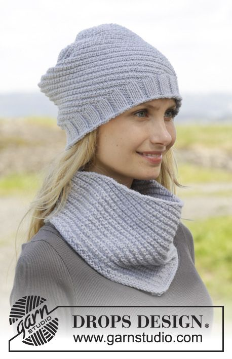 "Knitted DROPS hat and neck warmer with spiral pattern in ""Cotton Merino"". ~ DROPS Design"
