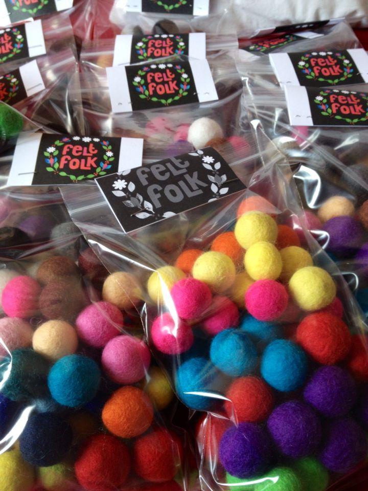 50 felt balls (2-2.5cm) pure wool £6.50 from Felt Folk