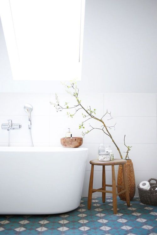 Beautiful blue tiles and free-standing bath
