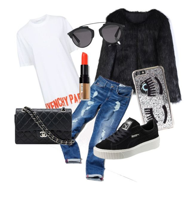 """""""Untitled #1"""" by laczolaura on Polyvore featuring Chicwish, Givenchy, Tommy Hilfiger, Chanel, Chiara Ferragni, Christian Dior, Puma and Bobbi Brown Cosmetics"""