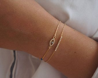 Evil Eye Bracelet, Dainty Gold Bracelet, Layered Bracelet, Good Luck Charm Bracelet, Everyday Gold Filled Jewelry.