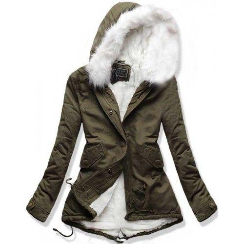 Dámská zimní bunda Feathers bílá AKCE – bílá Elegantní a stylová zimní bunda  Feathers s klasickým zapínáním na zip sp…  5b1d025f165