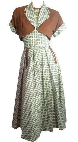 Smart White and Tan Cotton Sundress with Rhinestones and Bolero circa 1950s- Dorothea's Closet Vintage