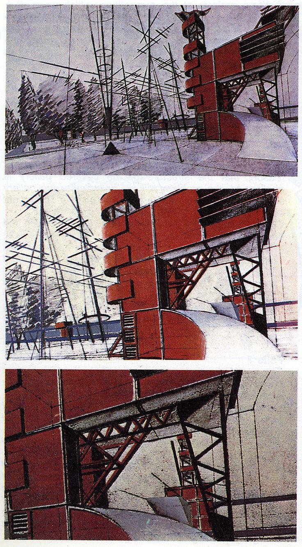 Bernard Tschumi. L'invention du parc. Graphite 1984: 27 | RNDRD