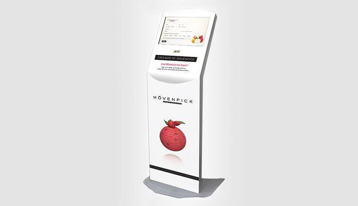 A stand alone kiosk with a friendly user interface inviting customers to join their loyalty programme is located in The Movenpick store in Auckland's Mission Bay.