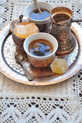 Turkish coffee or arabic coffee. Stronger than espresso and has a hint of cardamom..yum
