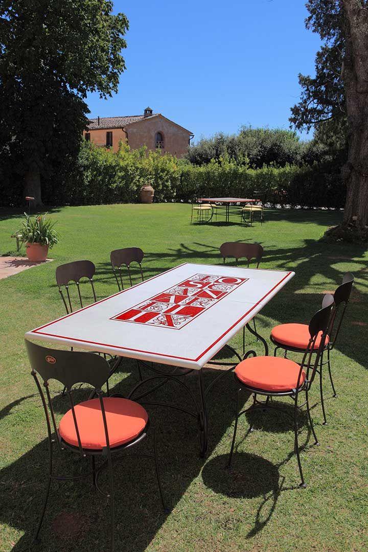 "Tavolo Baldovino con piano smaltato ""Toscana Felix"" (art.241 SF ..."