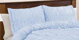 SCALABEDDING 100% coton égyptien – 400 fils/cm²-Tissu ruché Shams recueillies petit oreiller carrée Bleu clair