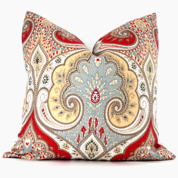 Decorative Pillow Cover Kravet Red Yellow Gray Paisley
