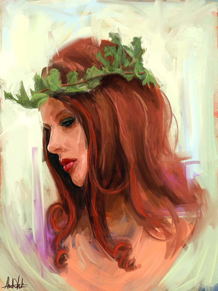 Sketching our Mother nature girl wearing leaf crown in new style drawing by graphic designer artist in Dubai Ahmad Kadi, realism Portrait pop art wpap art for sale looks like modern oil painting.