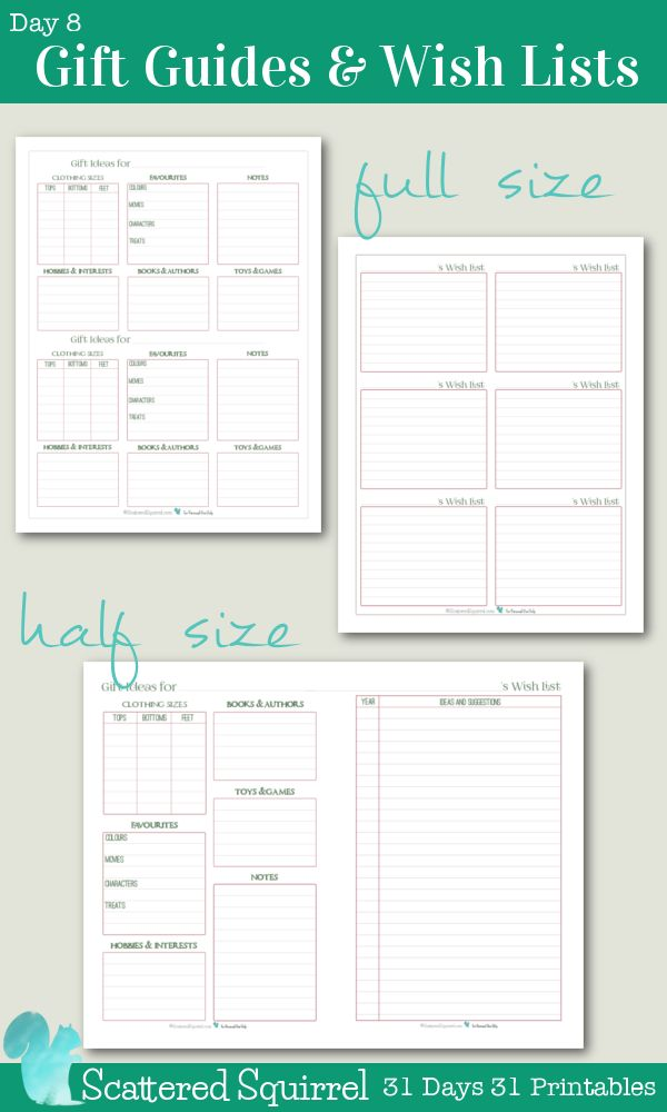 {31 Days 31 Printables} Day 8- Gift Guide and Wish List Printables. Use these printables to stay on top of all your gift giving this holiday season. Keep all the info you might need right at your fingers tips to help make choosing or making the perfect gift a breeze.