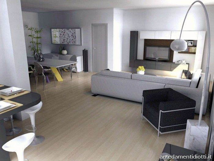 Cucina system vetro e soggiorno day lucido diotti a - Open space soggiorno cucina progetti ...