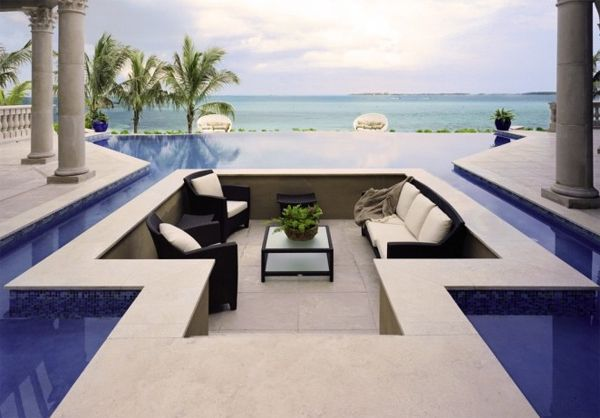 sunken lounge pit surrounded by pool