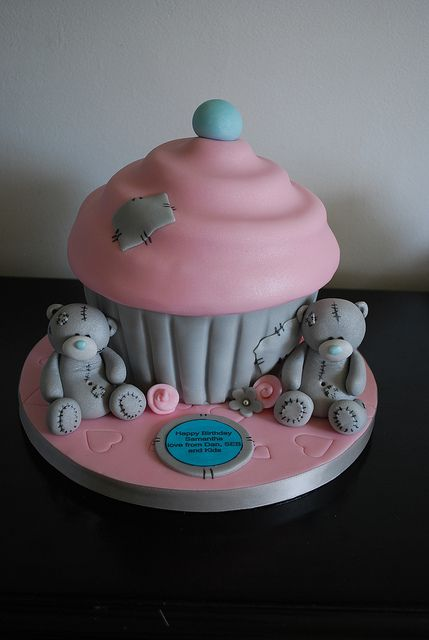 Me to you bear giant cupcake by trulycrumbtious, via Flickr